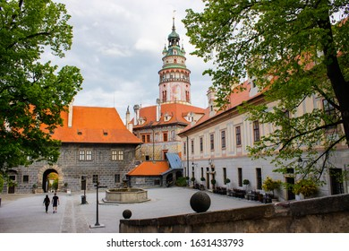 Picture of the interior patio of the State Castle with the Castle Tower at the background, the most famous symbol of Cesky Krumlov, Czech Republic