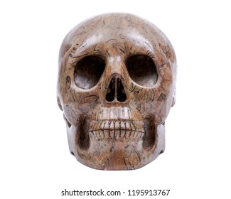 Picture Jasper realistic crystal carved skull isolated on white background