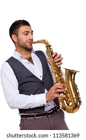 Picture of a jazzman playing a saxophone