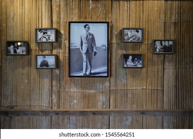 Picture of King Rama IX of Thailand  Placed on the bamboo wall. The picture was taken on 17 June 2019.