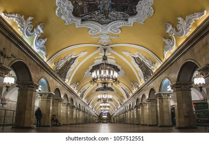 A picture of Komsomolskaya, i.e. a subway station in Moscow.
