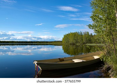 Picture of a lake in Lapland, Finland, taken in June.