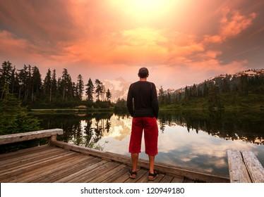 Picture Lake and Mount Shuksan,Washington