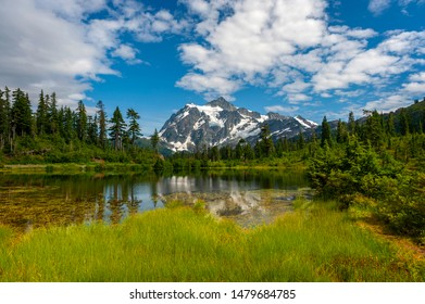 Picture Lake and Mt. Shuksan, Washington. Picture Lake is the centerpiece of a strikingly beautiful landscape in the Heather Meadows area of the Mt. Baker-Snoqualmie National Forest.