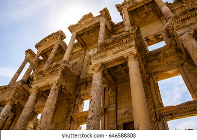 Picture of The library of Celsus at sunrise in the Roman ruins of Ephesus, Anatolia, Turkey