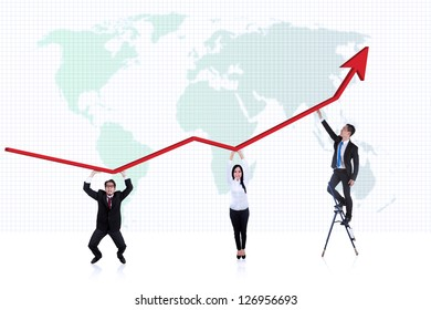 Picture of line chart with business people underneath it on world map background