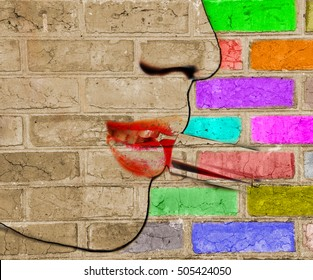 Picture of lipstick being applied on a girl lip blended with colorful cracked brick as color palette. Bold face outline. Conceptual sepia, vintage style.