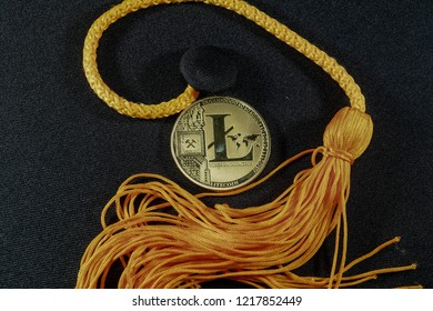 A picture of Lite coin and mortarboard of graduation. Crypto currency will be use to pay education fee in the future.