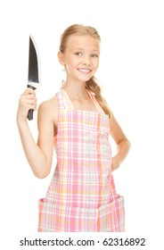 picture of little housewife with big knife