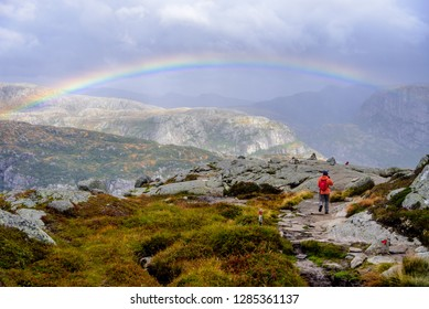 A picture with a little rainbow from Kjerag hike near Lysebotn, Norway