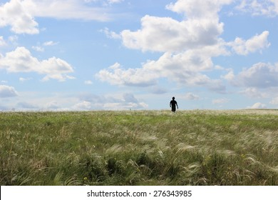 The picture of the lonely man on the field