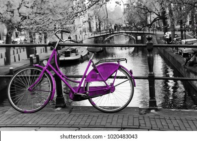 A picture of a lonely purple bike on the bridge over the channel in Amsterdam. The background is black and white.