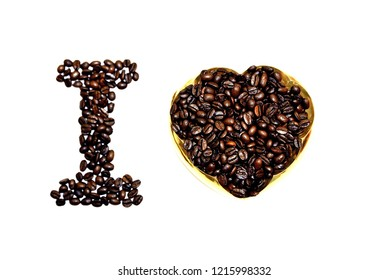 Picture of a i love coffee made of coffee beans on white background