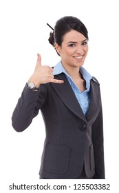 picture of lovely business woman making a call me gesture