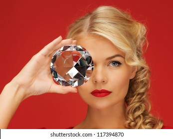 picture of lovely woman with big diamond