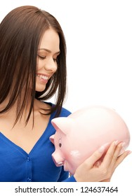 picture of lovely woman with piggy bank..
