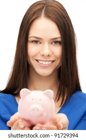 picture of lovely woman with piggy bank.