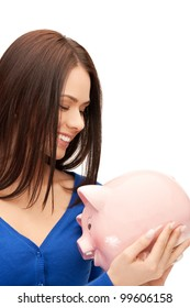 picture of lovely woman with piggy bank