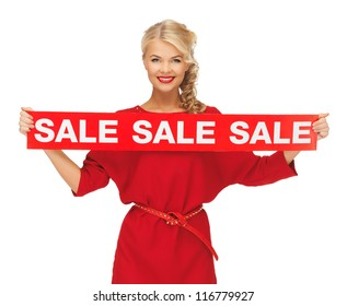 picture of lovely woman in red dress with sale sign