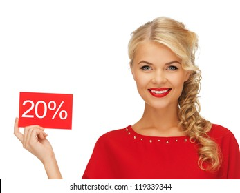 picture of lovely woman in red dress with discount card