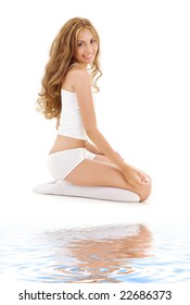 picture of lovely woman in white cotton underwear