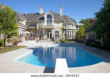 Luxury home swimming pools House Picture Of Luxury Home Swimming Pool And Back Yard Shutterstock Picture Luxury Home Swimming Pool Back Stock Photo edit Now