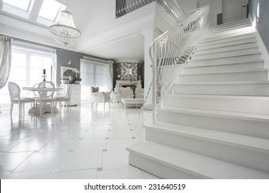 Picture Of Luxury Sophisitcated Interior With Marble Stairs