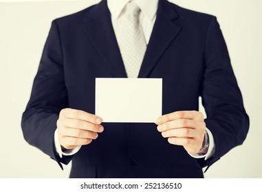 picture of man hand with blank paper