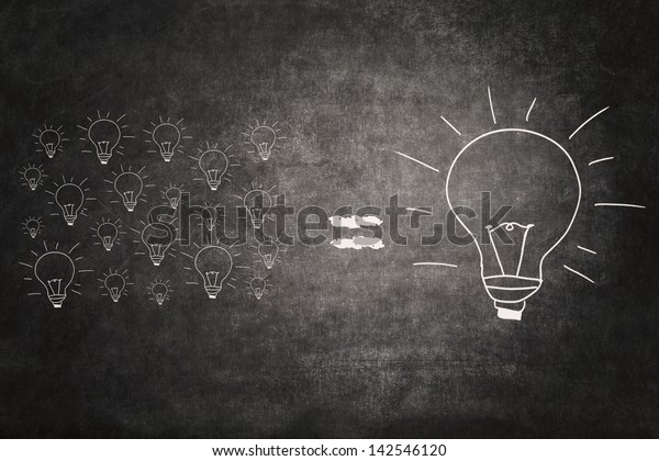 Picture of many small light bulbs equal big lightbulb