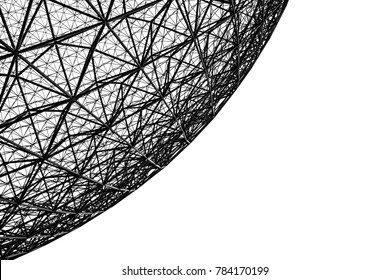 a picture of the metal frame of the biosphere in Montreal