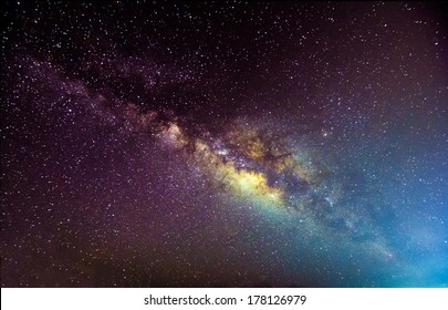 A picture of the milkyway galaxy. Processed by stacking multiple exposure into one picture. Contain noise.