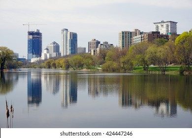 A picture of Milwaukee skyline with reflections