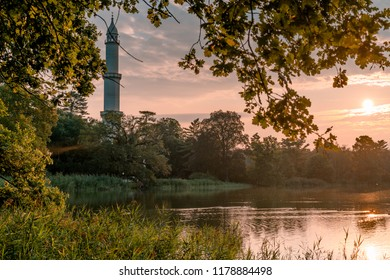 Picture of Minaret in front of Lednice palace in south moravia at sunrise.