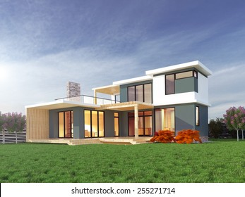 Picture of modern architecture, modern house, design building, summer day scene, 3D rendering