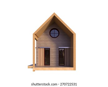 Picture of modern architecture, isolated house front, 3D rendering