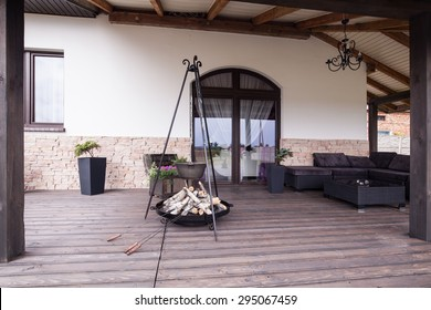 Picture of modern stylish patio with fireplace