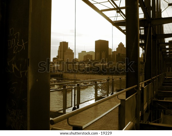 Picture of montreal skyline from a metal structure/platform located