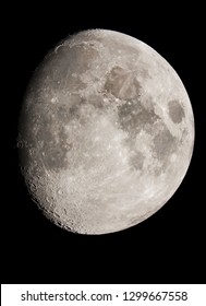 Picture of the moon surface taken with telescope, with the moon illuminated at 85 percent