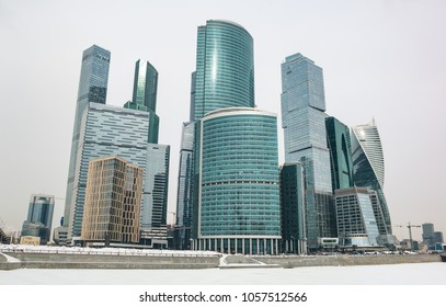 A picture of the Moscow City buildings taken from the other side of the river.