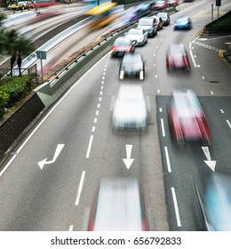 picture of motorway traffic in motion blur