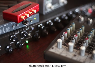Picture of Musical amplifier Sound amplifier or Music mixer with Knobs and Jack holes. Perfect for music background concept.