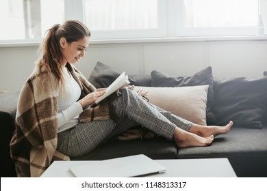 A picture of nice and thoughtful girl sits at sofa and reads a book. She has brown blanket on her shoulders. Woman got cold. She suts at window