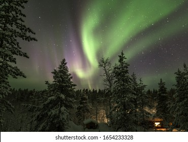 Picture of northern lights above a snow-covered forest. A cabin can be seen at the bottom of the picture, in between the trees