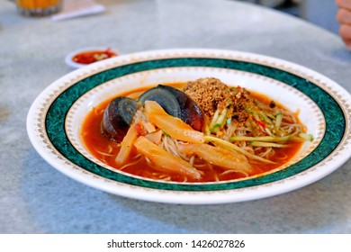 "A picture of Nusantara food called ""mee belacan"" or shrimp paste noodle sell at Sarawak restaurant."