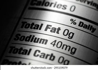 Picture of a nutrition ingredients label on a silver aluminum diet soda pop can