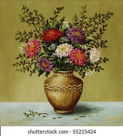 Picture oil paints on a canvas: a bouquet asters in a clay amphora