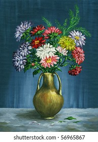 Picture oil paints on a canvas: a bouquet of asters in a clay vase