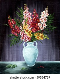 Picture oil paints on a canvas: bouquet of freesia in a white amphora