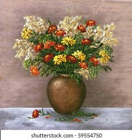 Picture oil paints on a canvas: a bouquet of marigold and a saffron in a clay pot