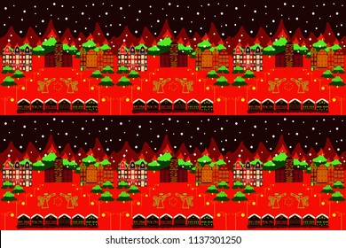 Picture on red, black and green colors. Raster pattern with houses.